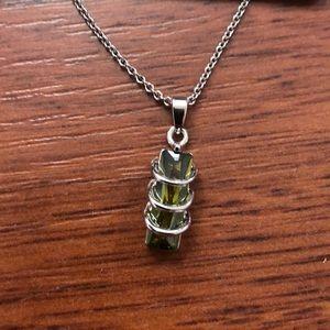 Cubic Zirconia pendant on silver tone chain